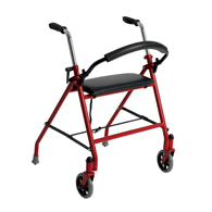 Drive Medical 1239RD Two Wheeled Walker w/ Seat-Red