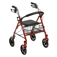 Drive Four Wheel Walker Rollator with Fold Up Removable Back Support
