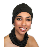 Turban Diva Designs 299-03b Chemo Hat & Band Set-Black